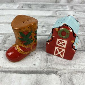 Cowboy Boot Barn Salt Pepper Shaker Set Christmas